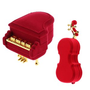 Wholesale Set of Delicate Violin and Piano Jewelry Boxes Ring Earrings Trinket Jewelry Packaging Accessories