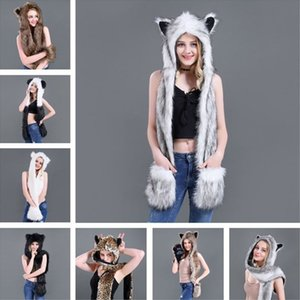 Wholesale 3 In Women Men Fluffy Plush Animal Wolf Leopard Hood Scarf Hat with Paws Mittens Gloves Thicken Winter Warm Earflap Bomber Cap