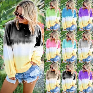 Wholesale Women Rainbow Gradient Hoodie Autumn long sleeves striped pullover Casual weatshirts Tops Clothes T shirt shirts Tee plush size LJJA2907