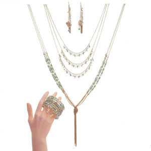 Wholesale Luxury Crystal Jewelry Set Multilayer Pendant Long Tassel Necklace Natural Shell Drop Earring Adjustable Beaded Bangle