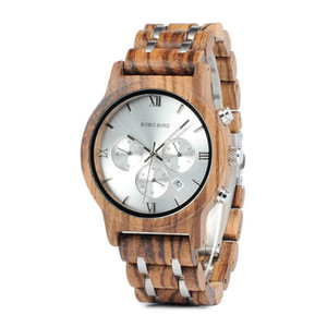 Bobo Bird P19 Wooden Mens Quartz Watches Date Display Business Watch Ebony & Zebrawood Options Valentines Gift