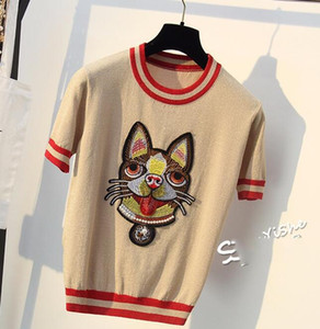 Wholesale Cheapest EuropeUnited States bright silk striped short sleeved sweater dog head embroidery round neck loose wild short