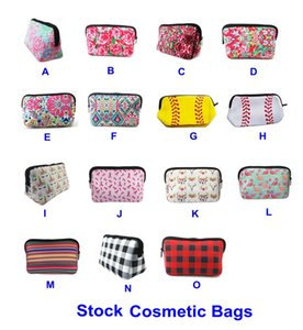 Wholesale Neoprene Cosmetic Bag Lily Floral Baseball Plaid Print Waterproof Makeup Bags Travel Portable Storage Case Fashion Handbag Purse B71901