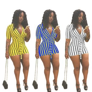 Wholesale Summer Women Striped Jumpsuit Solid Color Wasit Bandage Shorts Jumpsuit Short Sleeve V neck T shirt Short Pants Rompers Sexy Clubwear C41604