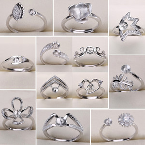 New Design 925 Sliver Rings Settings DIY Pearl Ring for Women DIY Rings Adjustable Size Jewelry Settings Christmas Statement Fashion Jewelry