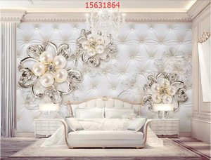 Wholesale Customized Beautiful 3d luxury crystal flower jewelry TV background wall decoration painting mural wallpaper behang