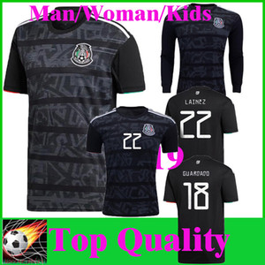 Wholesale 2019 Mexico Gold Cup Soccer Jersey Black Camisetas CHICHARITO LOZANO MARQUEZ Women Football Shirt Top National Team Uniform Kids Kit