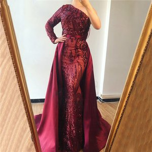 Wholesale Dubai Wine Red One Shoulder Evening Dresses Sequeined Luxury Sexy With Train Evening Gowns Sequins Party Prom Dresses