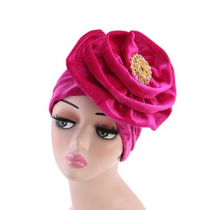 Muslim Women Velvet Flower Brooch Turban Hats Chemo Beanies Cap Bandana Hijab Pleated Wrap Head Cover Hair Loss Accessories