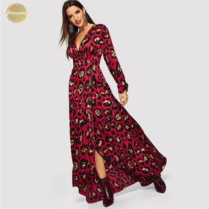 Wholesale V Neck Leopard Print Kimono Sleeve Wrap Christmas Dress Party Women Spring Long Sleeve Maxi Dress Korean Elegant Dress