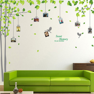 Wholesale New Green Tree Photo Frame Wall Stickers Home Decor Living Room Leaves Wall Decals