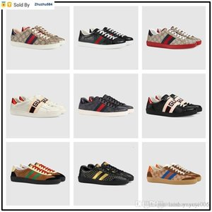 PEFO Top High Quality Men Genuine Leather Ace Bee White Sneaker Women Casual Shoes Male Ladies Sports Shoes With The Box Eur 38-44