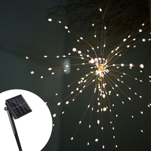 Wholesale Fireworks Solar String Lights 200 LED Solar Lamp 8 Mode LED Lights Remote Control Decoration XMAS Light for Party Bar Christmas GGA2519