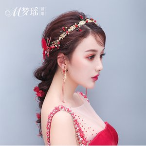 Wholesale Bride new headdress red hair accessories Sen hair band fairy hoop toast clothing gift wedding jewelry
