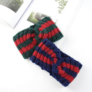 Christmas Hair Band Color-block Knit Cross Wool Hair Band Ear Protectors Hand-knit Fashion Warm