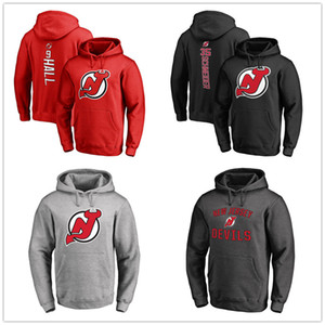 Wholesale New Jersey Devils Hockey Hoodies Branded Black Ash Red Gray Men's Sport hoody long Sleeve Outdoor Wear Jackets printed Logos 2019