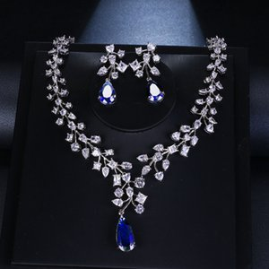 Wholesale Elegant White Gold Color Leaves Water Drop Women Party Wedding Necklace and Earrings Royal Blue CZ Stones Jewelry Sets Gifts