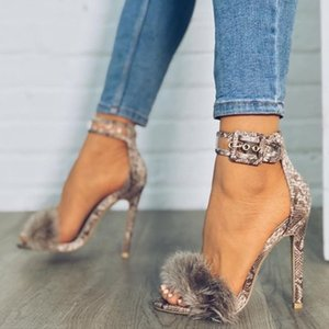 Wholesale Fashion Women s Feathers High heels Transparent Sandals Plush Hollow Sexy Shoes sword buckle high Heels