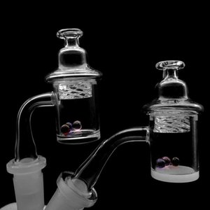 Handmade Beveled Edge Quartz Banger With Glass Spinning Carb Cap 25mmOD 10mm 14mm 18mm 45&90 Quartz Banger Nails For Glass Water Bongs
