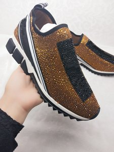 Wholesale Top Quality Designer shoes Sorrento Rhinestone Shoe Knit Casual trainers Men Fabric Stretch Jersey Slip on Sneakers Rubber Breathable