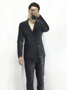 Wholesale 100 real mens stars silver glitter stripe velvet black tuxedo suit event evening stage performance jacket with pants