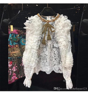 Wholesale Top White O Neck Long Sleeves Lace Shirts Women Milan Runway Sheer Lace Beads Crystals Blouses Women