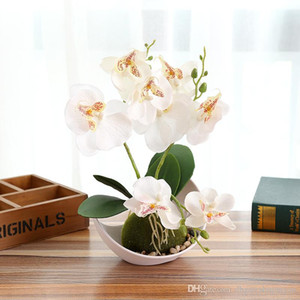 Wholesale orchid potting resale online - Artificial Butterfly Orchid Potted plants silk Decorative Flower with Plastic pots for Home Balcony Decoration vase set