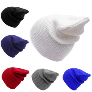Wholesale Kids Adult Knitted Hats Solid Color All matches Autumn Winter Hat Caps Children Soft Bonnet beanie Ear Flaps Crochet Hats Colors ZZA877