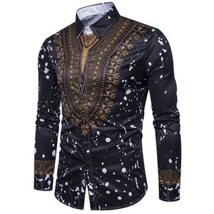 Wholesale 2019 Mens Hipster African Slim Fit Dress Shirts Casual Long Sleeve Button Down Shirt Men African Traditional XL Y1
