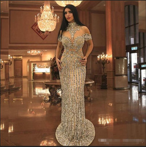 Arabic Rhinestone Crystals Evening Dresses High Neck Beads Short Sleeve Sparkly Mermaid Prom Dress Stunning Dubai Celebrity Dresses on Sale