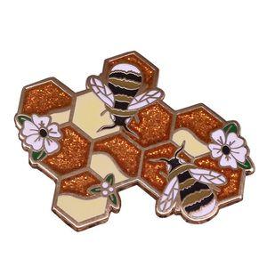 Beehive Enamel Pin Beekeeper Bees gift Honeycomb Brooch