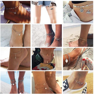 Wholesale 20 styles Summer Beach Turtle Shaped Charm Rope String Anklets For Women Ankle Bracelet Woman Sandals On the Leg Chain Foot Jewelry ALXY02