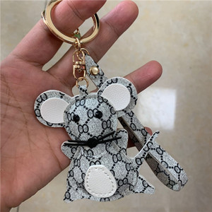 Mouse Design Keychains Cartoon Fashion Luxury Key Chain Accessories for Car Keys PU Leather Animal Keyrings Rings Holder Bag Charm Jewelry