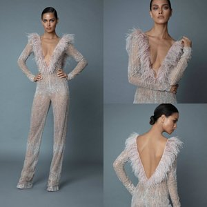 Sexy Berta Jumpsuits Prom Dresses V Neck Long Sleeve Crystal Evening Gowns With Feathers Dubai Arabic Party Runway Dress Custom Made on Sale