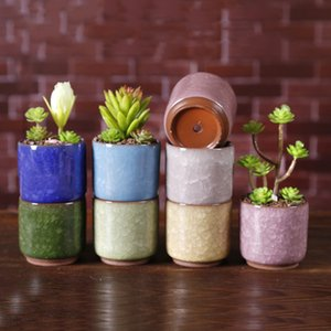 Wholesale Ice Cracked Mini Ceramic Flower Pot Colorful Cute Flowerpot For Desktop Decoration Meaty Potted Plants Planters