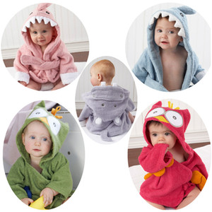 Wholesale New cute animal bathrobe Flannel Kids shark fox mouse owl model Robes cartoon Nightgown Children Towels Hooded bathrobes ST192