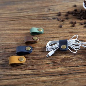 2pcs Leather Cable Winder Organizer Desk Set USB Wire Data Line Holder Earphone Line Winder Wrap Cord Desk Accessories Gifts
