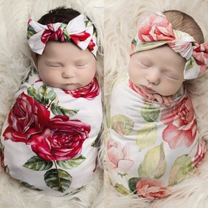 Wholesale Newborn Photography Prop Baby Blankets Printed Flower Infant Baby Boys Girls Sleeping Cotton Swaddle Muslin Wrap +Headband 2PCS