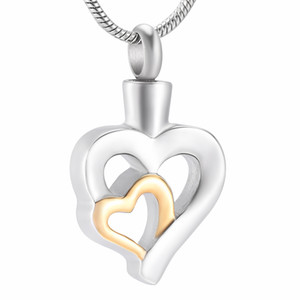 Wholesale funeral urns resale online - ZZL029 Silver and gold Hollow Heart Cremation Necklace with screw Ashes Holder Keepsake Jewelry Funeral Urns