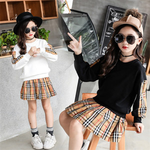 Wholesale Fashion Big girl clothes Long Sleeve sweatshirt Skirt set color Spring Children Casual hoodie coat Skirts Suits kids clothes Sets CJY862