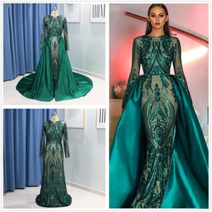 Emerald Green Long Sleeves Mermaid Evening Dress with Detachable Train Abaya Kaftan Dubai Muslim Formal Prom Dresses 2019 robe de soiree on Sale