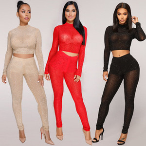 Wholesale Sexy Women s Piece Pants Nice Mesh Transparent Lady s Two Piece Sets Fashion Rhnestone style Girl s Club and Party Wear