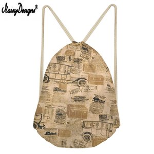 Wholesale Noisydesigns Newspaper Print Custom portable Drawstring bag Men s shoes bag Ladies travel high quality sports backpack