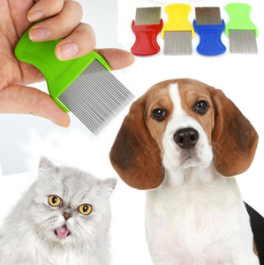 Wholesale dog tooth brushing resale online - Dog Cat Head Hair Lice Nit Comb Pet Safe Flea Eggs Dirt Dust Remover Stainless Steel Grooming Brushes Tooth Brushs Mixed Colors