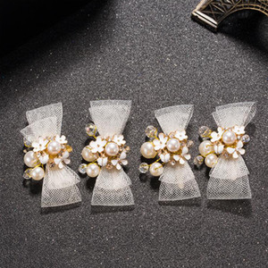 Wholesale Fashion Bow Hair Clip Headwear White Simulated pearl Bride Wedding Hair Accessories Women Headwear Artificial Festival Clip