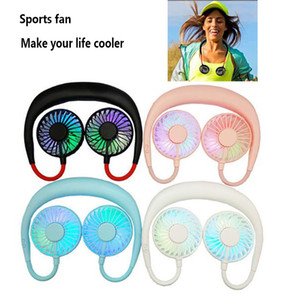 Wholesale new sport Neckband Mini Neck Fan USB Cooling LED Neck Fan for Camping Sport Tourism Summer Cooler fans DHL shipping