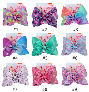 Wholesale 8 inch JOJO bow girl hair bows Flowers Rainbow Mermaid Design Girl Clippers Girls Hair Clips JOJO SIWA Hair Accessory