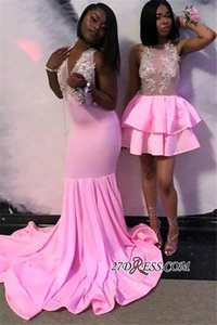 Wholesale modern formal african short dresses for sale - Group buy Pink Sparkly Appliqued Mermaid Prom Dress Sexy African Backless Short Evening Long formal Party Gown Plus Size Custom Made BC1763