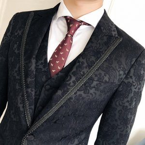 Italian Suits and Pants for Men 3 Pieces Complete Suits Wedding Luxury Court Design Black Floral Jacquard Groom Suit Terno on Sale