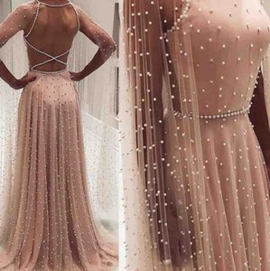 Wholesale 2019 Jewel A-line Evening Dress Sleeveless Sexy Backless Floor Length Fully Pearls Prom Party Gowns With Cape